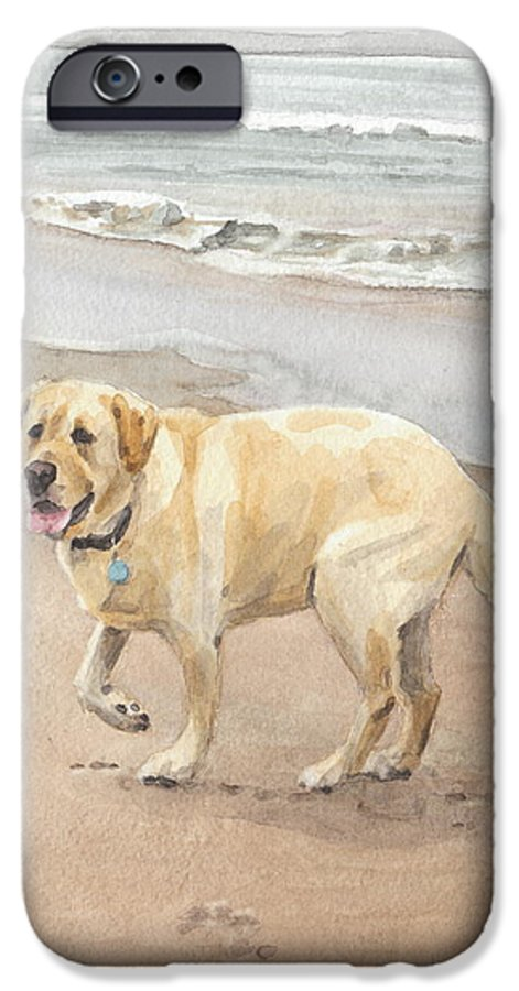 <a Href=http://miketheuer.com Target =_blank>www.miketheuer.com</a> Yellow Lab On Beach Watercolor Portrait IPhone 6 Case featuring the drawing Yellow Lab On Beach Watercolor Portrait by Mike Theuer