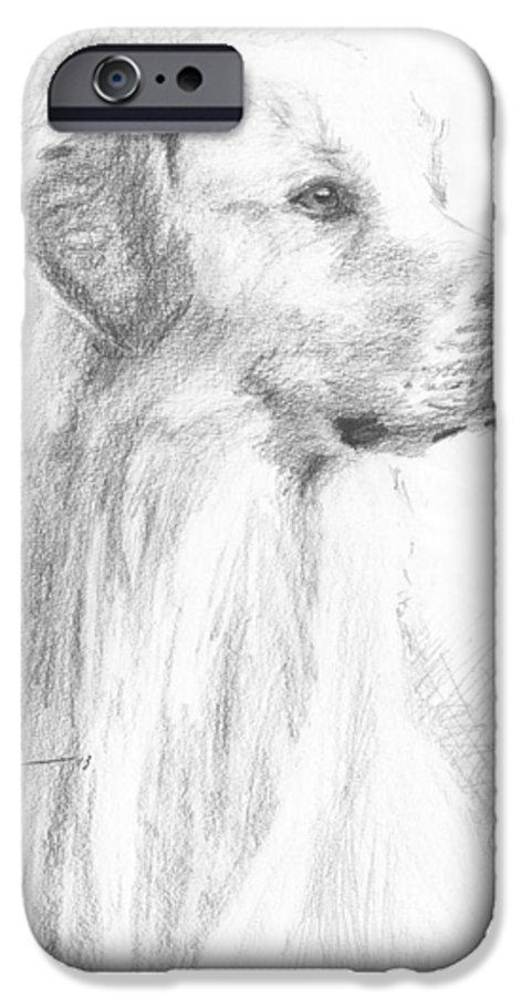 <a Href=http://miketheuer.com Target =_blank>www.miketheuer.com</a> Yellow Labrador Show Dog Pencil Portrait IPhone 6 Case featuring the drawing Yellow Labrador Show Dog Pencil Portrait by Mike Theuer