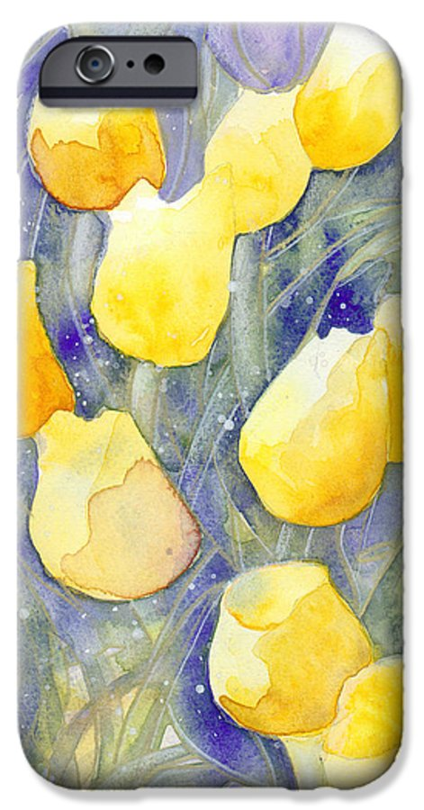 Yellow Tulips IPhone 6 Case featuring the painting Yellow Tulips 1 by Christina Rahm Galanis