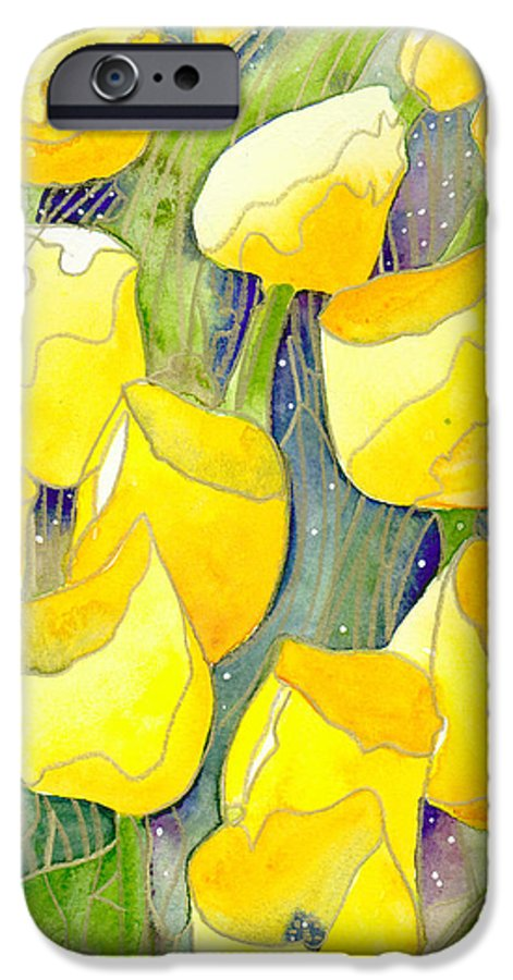 Yellow Tulips IPhone 6 Case featuring the painting Yellow Tulips 2 by Christina Rahm Galanis