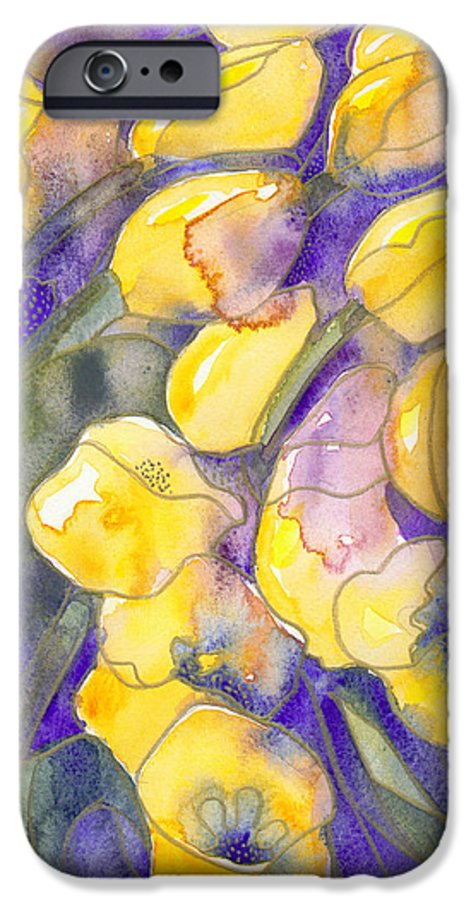 Yellow Tulips IPhone 6 Case featuring the painting Yellow Tulips 3 by Christina Rahm Galanis