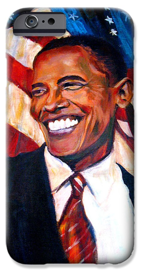 Barack IPhone 6 Case featuring the painting Yes We Can by Art Nomad Sandra Hansen