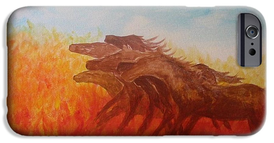Horses IPhone 6 Case featuring the painting You Shall Return No More To Egypt Deut 17 16 by Laurie Kidd
