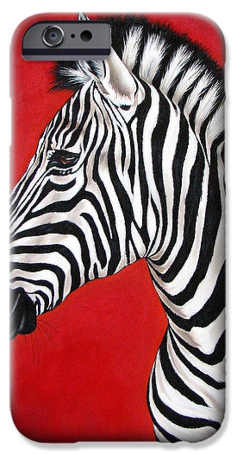 Zebra IPhone 6 Case featuring the painting Zebra by Ilse Kleyn
