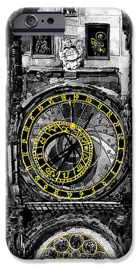 Geelee.watercolour Paper IPhone 6 Case featuring the painting Bw Prague The Horologue At Oldtownhall by Yuriy Shevchuk