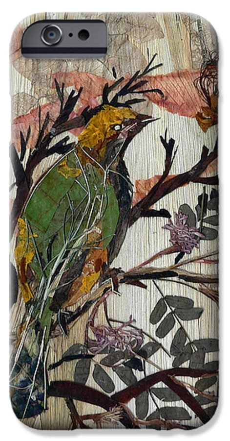 Green Bird IPhone 6 Case featuring the mixed media Green-yellow Bird by Basant Soni