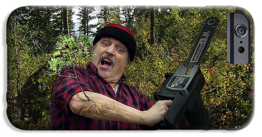 Surrealism Fantastic+realism Cloning Parasites Lumberjack Chainsaw Selfportrait IPhone 6 Case featuring the digital art I Am A Lumberjack I Am Ok by Otto Rapp