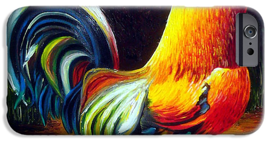 Cuban Art IPhone 6 Case featuring the painting Rooster by Jose Manuel Abraham