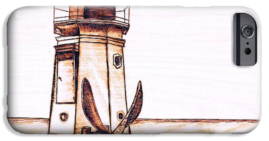 Lighthouse IPhone 6 Case featuring the pyrography Vermilion Lighthouse by Danette Smith