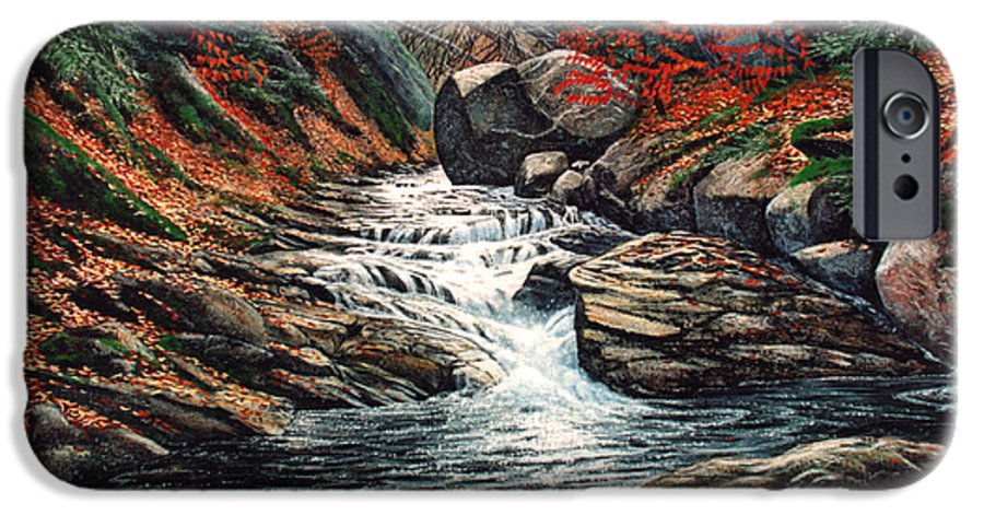 Landscape IPhone 6 Case featuring the painting Autumn Brook by Frank Wilson