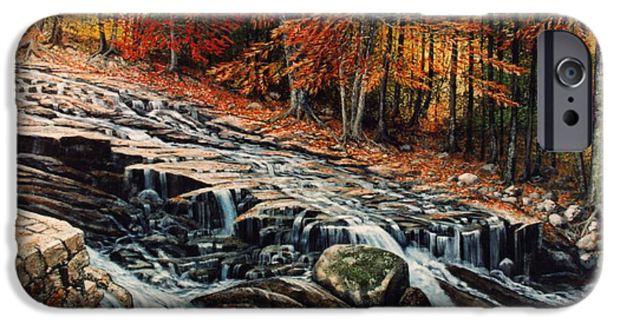 Landscape IPhone 6 Case featuring the painting Autumn Cascade by Frank Wilson