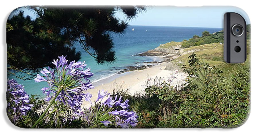 Coast Brittany Flowers Sea Ocean Bay Pines France IPhone 6 Case featuring the photograph Bel-ile-en-mer by Lizzy Forrester