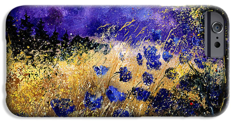 Poppies IPhone 6 Case featuring the painting Blue Cornflowers by Pol Ledent