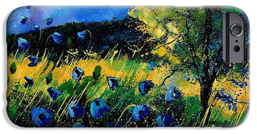 Poppies IPhone 6 Case featuring the painting Blue Poppies by Pol Ledent