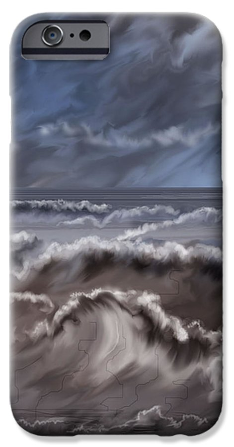 Seascape IPhone 6 Case featuring the painting Caramel Seas by Anne Norskog