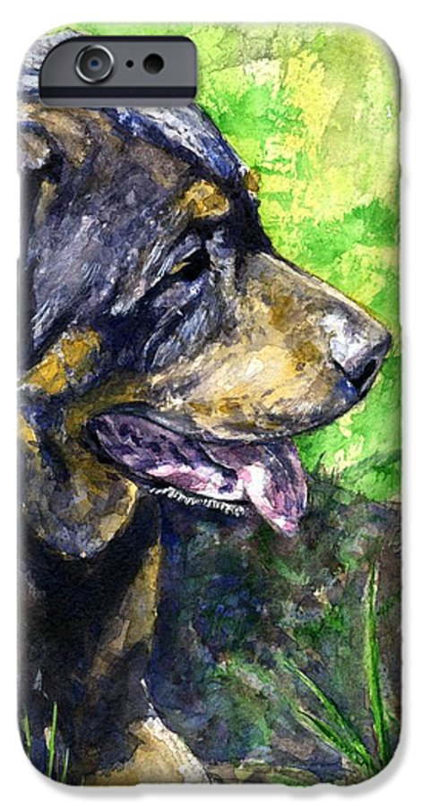 Rottweiler IPhone 6 Case featuring the painting Chaos by John D Benson