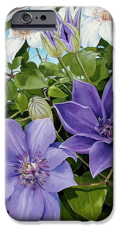Clematis IPhone 6 Case featuring the painting Clematis 2 by Jerrold Carton