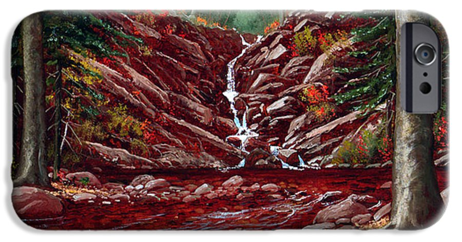 Frank Wilson IPhone 6 Case featuring the painting Deepwoods Cascade by Frank Wilson
