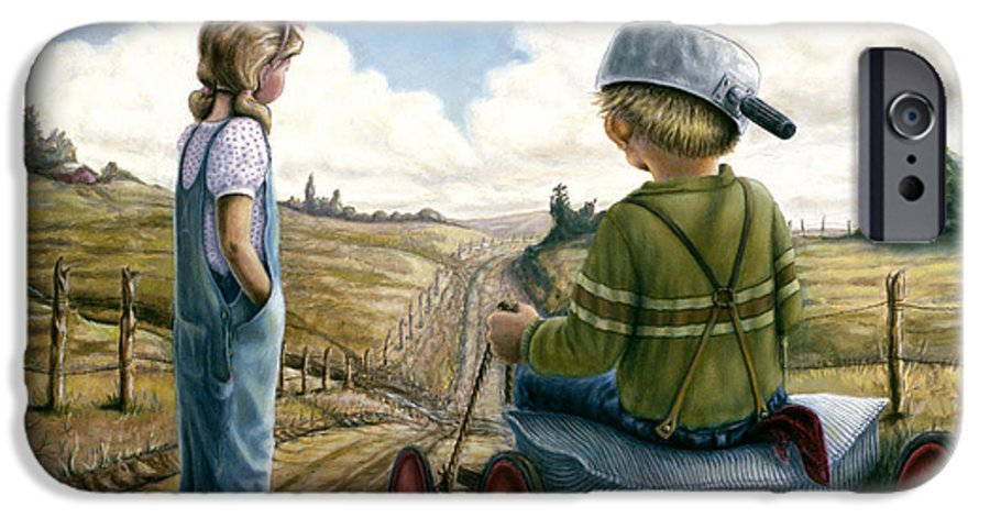 Children Playing IPhone 6 Case featuring the painting Down Hill Racer by Lance Anderson
