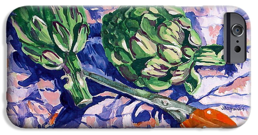 Greens IPhone 6 Case featuring the painting Edible Flowers by Jan Bennicoff