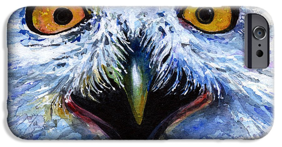 Eye IPhone 6 Case featuring the painting Eyes Of Owls No. 15 by John D Benson