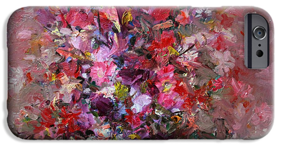 Pink Flowers IPhone 6 Case featuring the painting Flowers by Mario Zampedroni