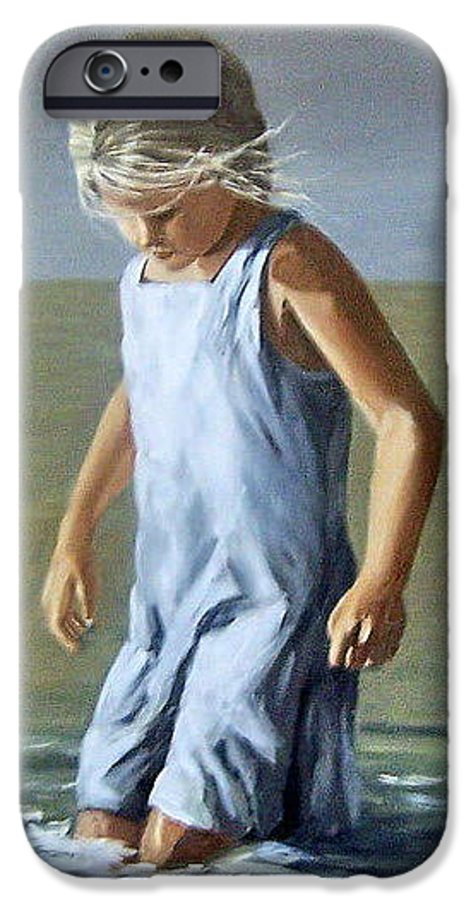 Girl Children Reflection Water Sea Figurative Portrait IPhone 6 Case featuring the painting Girl by Natalia Tejera
