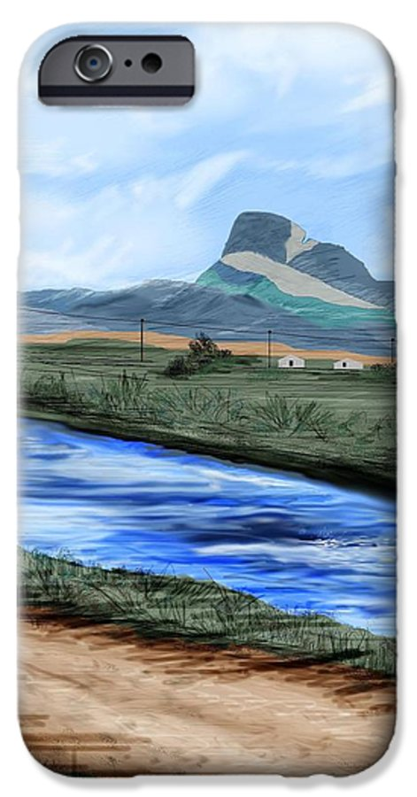 Heart Mountain IPhone 6 Case featuring the painting Heart Mountain And The Canal by Anne Norskog