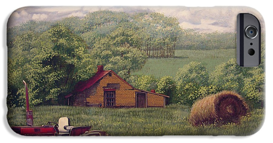 Landscape IPhone 6 Case featuring the painting Idle In Godfrey Georgia by Peter Muzyka