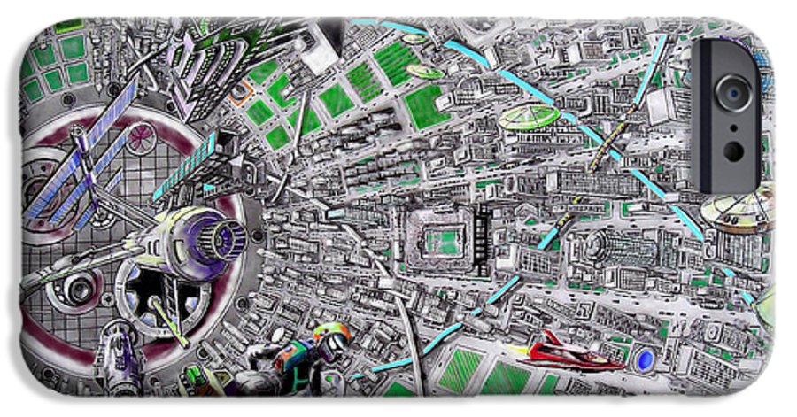 Landscape IPhone 6 Case featuring the drawing Inside Orbital City by Murphy Elliott