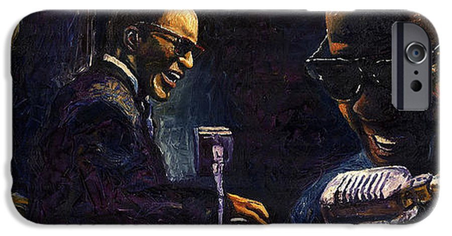 Jazz IPhone 6 Case featuring the painting Jazz Ray Charles by Yuriy Shevchuk