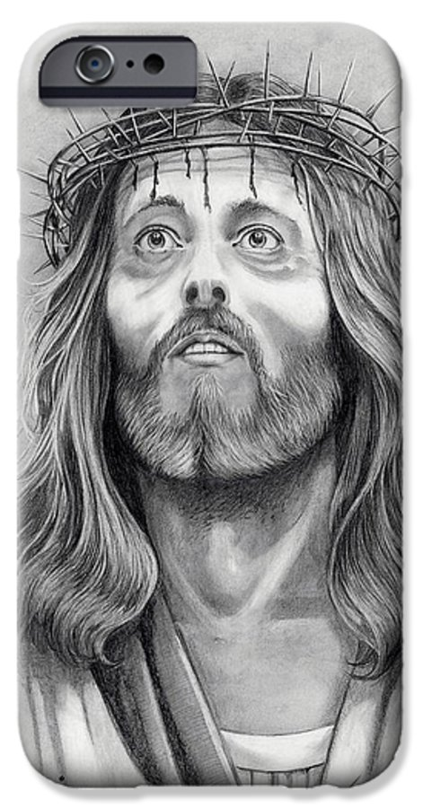 Jesus Christ IPhone 6 Case featuring the drawing King Of Kings by Murphy Elliott