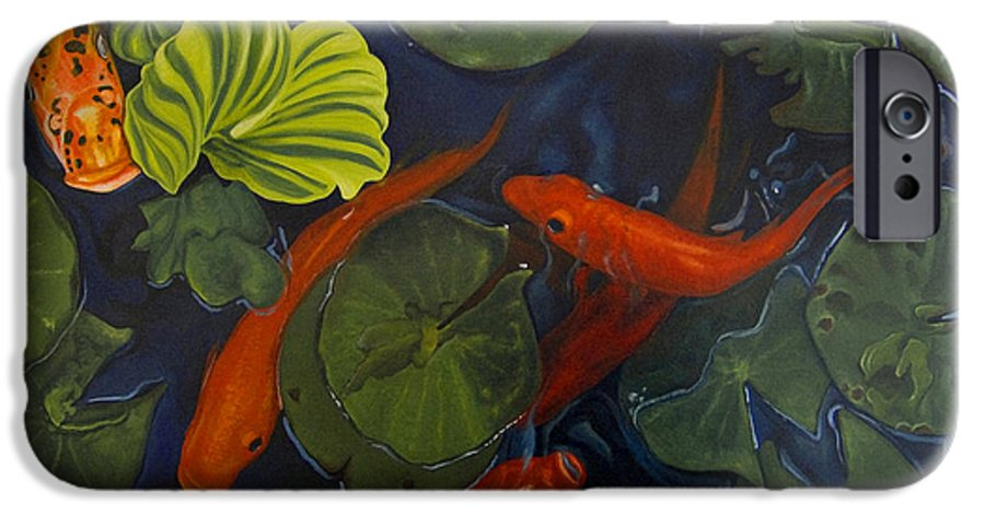 Painting IPhone 6 Case featuring the painting Koi Ballet by Peter Muzyka