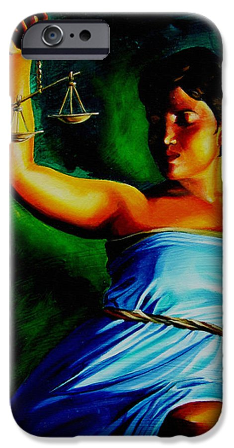 Colorful IPhone 6 Case featuring the painting Lady Justice by Laura Pierre-Louis