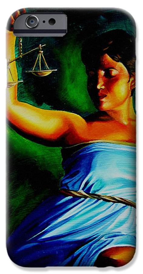 Law Art IPhone 6 Case featuring the painting Lady Justice by Laura Pierre-Louis