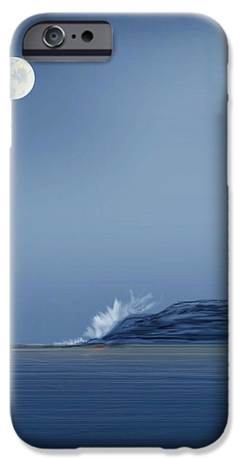 Seascape IPhone 6 Case featuring the painting Looking At The Moon by Anne Norskog