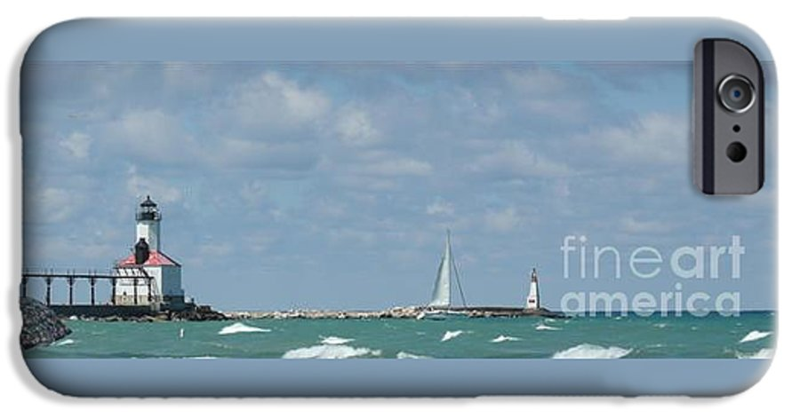 Scenery IPhone 6 Case featuring the photograph Michigan City Beach Lighthouse by Barb Montanye Meseroll