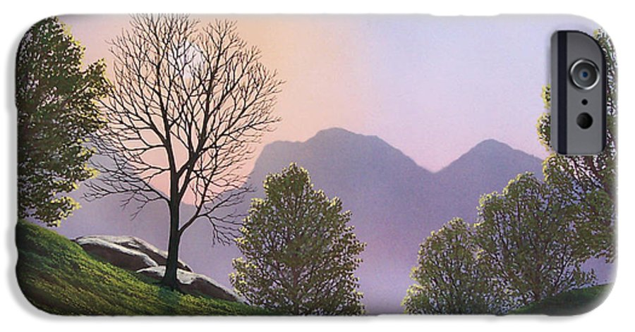 Landscape IPhone 6 Case featuring the painting Misty Spring Meadow by Frank Wilson