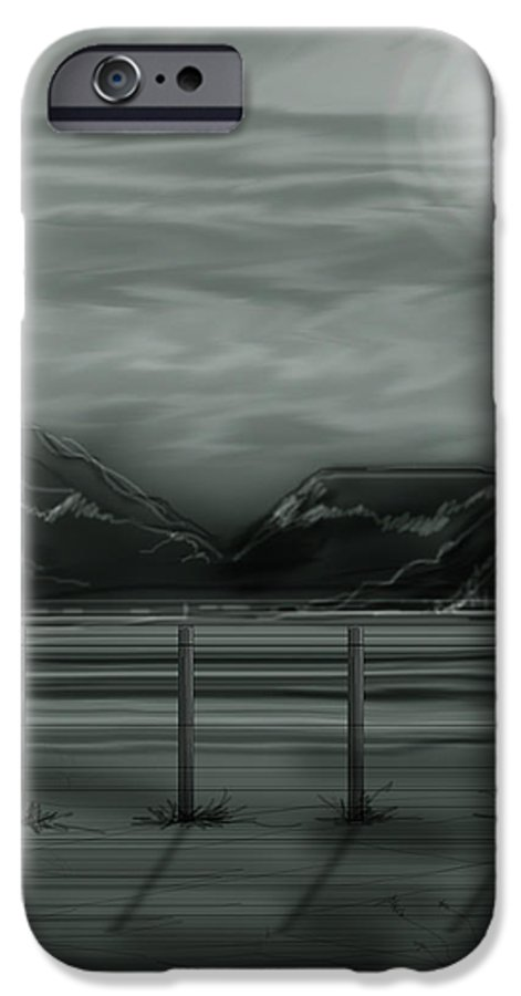 Landscape IPhone 6 Case featuring the painting Moon Over The Beartooth by Anne Norskog