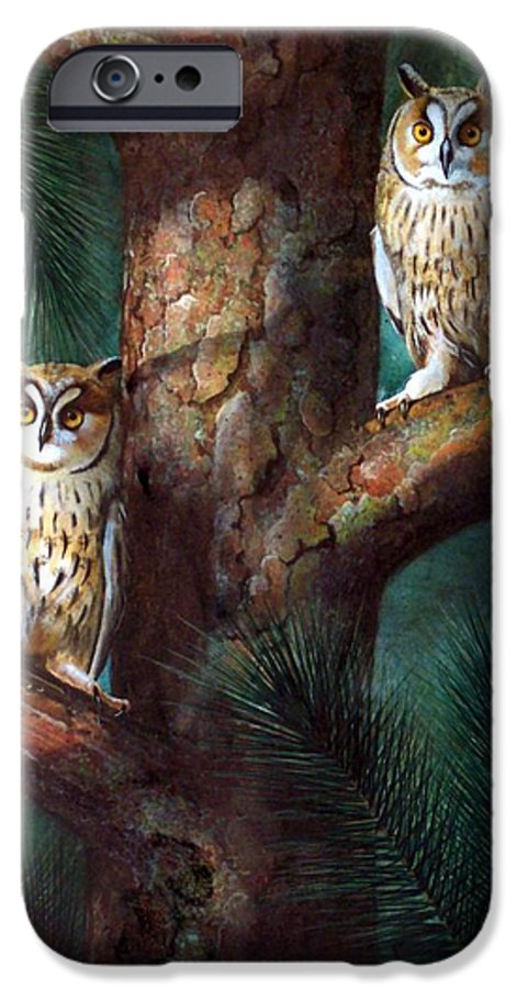 Wildlife IPhone 6 Case featuring the painting Owls In Moonlight by Frank Wilson