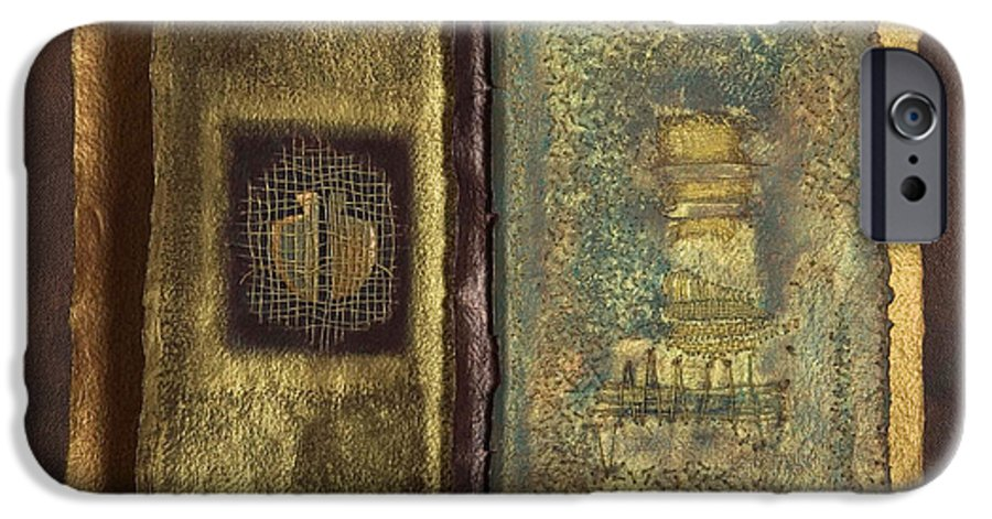 Artist-book IPhone 6 Case featuring the mixed media Page Format No 1 Transitional Series by Kerryn Madsen-Pietsch