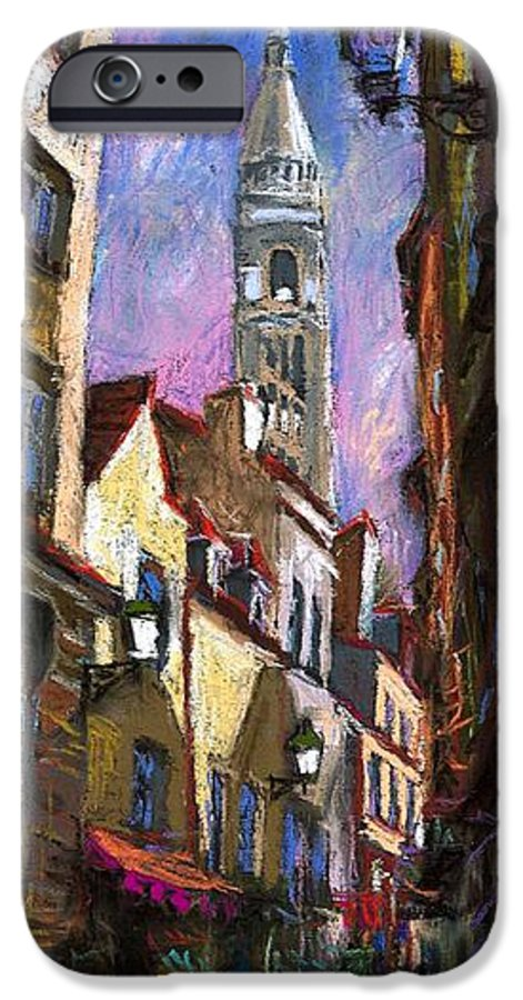 Pastel IPhone 6 Case featuring the painting Paris Montmartre by Yuriy Shevchuk