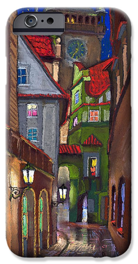 Pastel IPhone 6 Case featuring the painting Prague Old Street by Yuriy Shevchuk