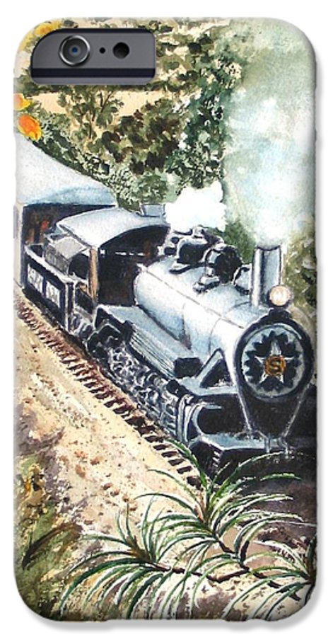 Trains IPhone 6 Case featuring the painting Round The Bend by Karen Ilari