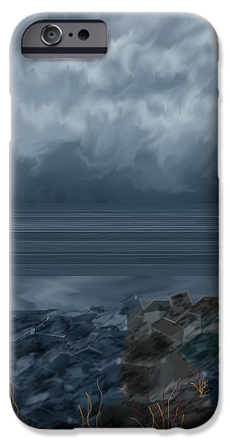 Seascape IPhone 6 Case featuring the painting Slack Tide On The Jetty by Anne Norskog