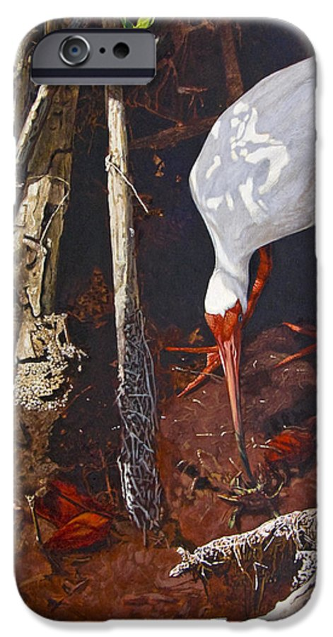 Waterfowl IPhone 6 Case featuring the painting Sparring For Lunch by Peter Muzyka