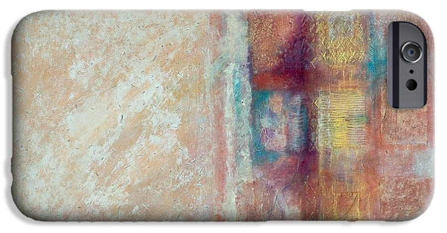 Mixed-media IPhone 6 Case featuring the painting Spirit Matter Cosmos by Kerryn Madsen-Pietsch