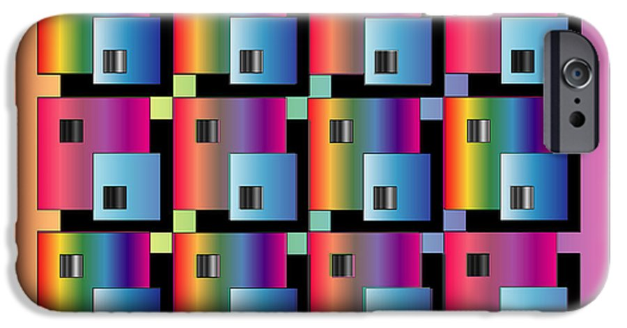 Abstract IPhone 6 Case featuring the digital art Squares by George Pasini
