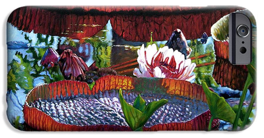 Water Lilies IPhone 6 Case featuring the painting Sunlight Shining Through by John Lautermilch