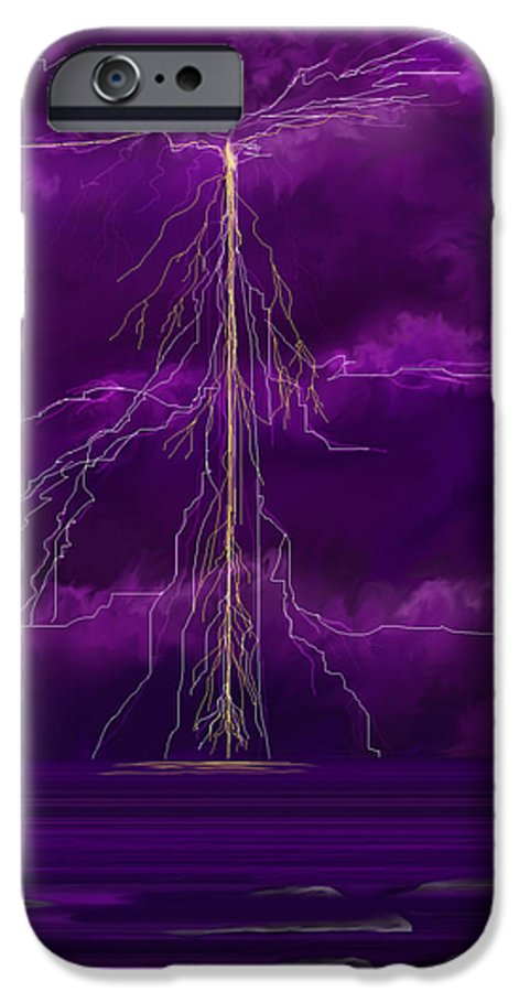 Lightning Storm IPhone 6 Case featuring the painting Tesla by Anne Norskog